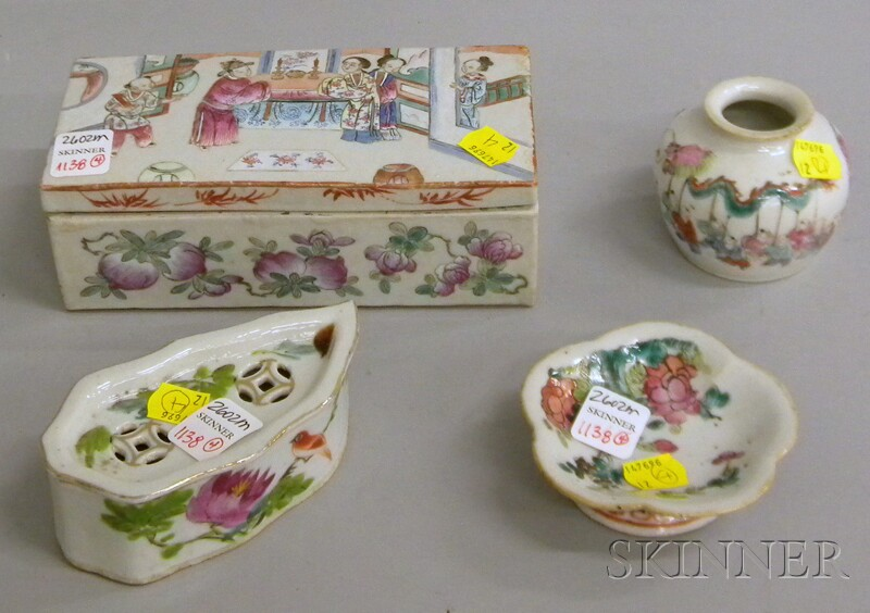 Four Chinese Porcelain Table Items