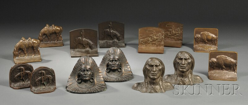 Seven Pairs of Cast Bronze Native American, Cowboys, and Western Themed Bookends