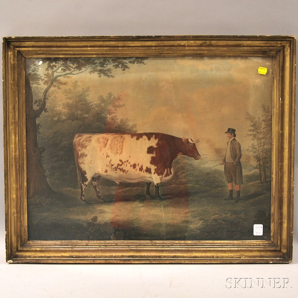 Giltwood Framed Hand-colored Print Portrait of a Bull with Driver