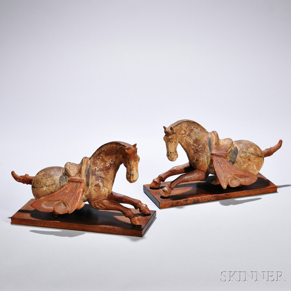 Pair of Earthenware Caparisoned Horses