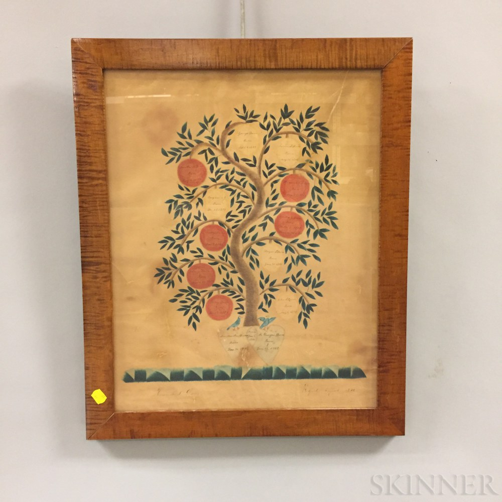 Tiger Maple Framed Watercolor Family Tree