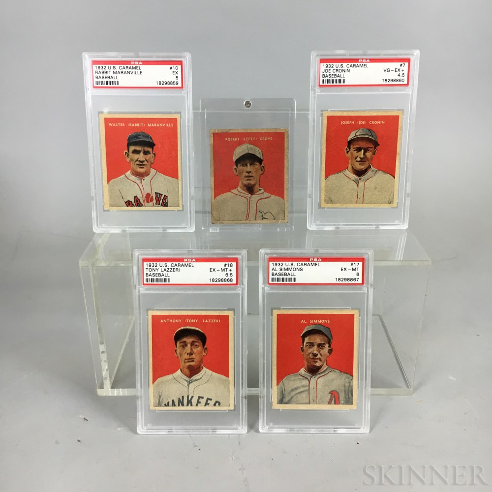 Five 1932 U.S. Caramel Co. Baseball Cards