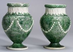 Pair of Wedgwood White Terra Cotta Stoneware Porphyry Vases