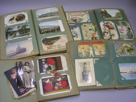 Four Turn-of-the Century Postcard Albums