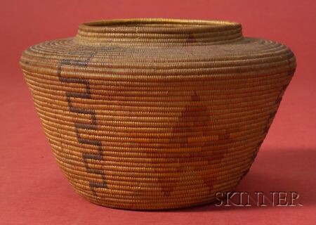 California Polychrome Coiled Basketry Jar