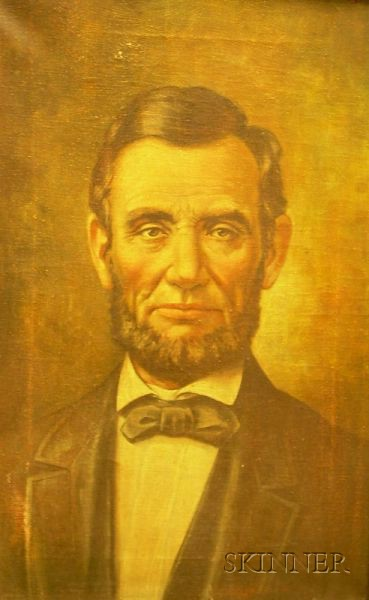 Framed Oil on Canvas Portrait of Abraham Lincoln