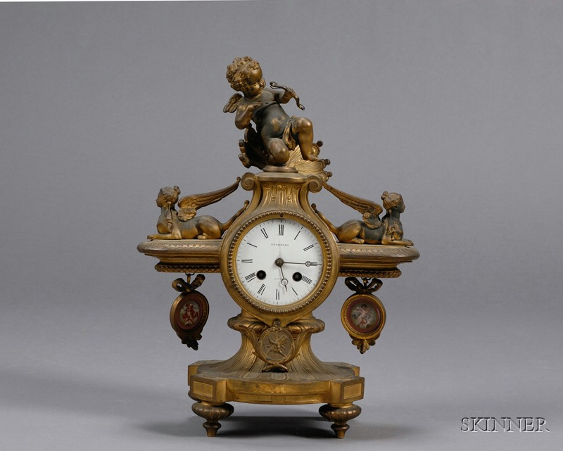 French Bronze and Porcelain Mounted Mantel Clock