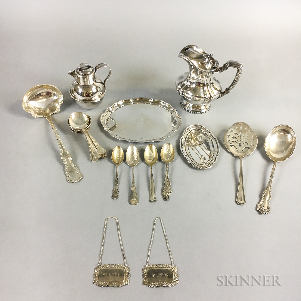 Group of Assorted Sterling Silver Tableware and Two Silver-plated Pitchers