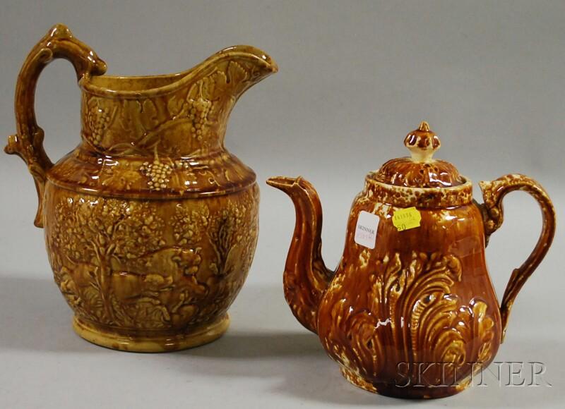 Rockingham Glazed Pottery Hunt Pitcher and a Teapot