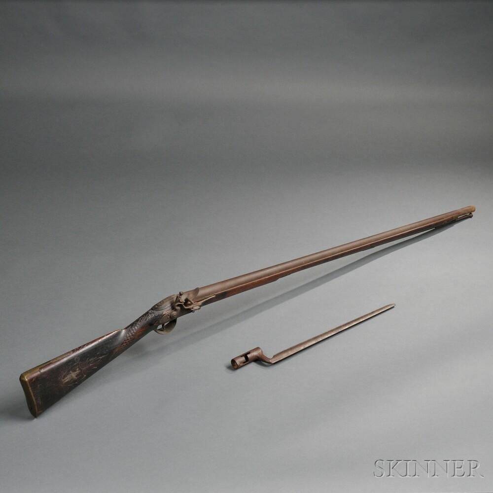 Flintlock Massachusetts Militia Musket and Bayonet by Alvan Pratt