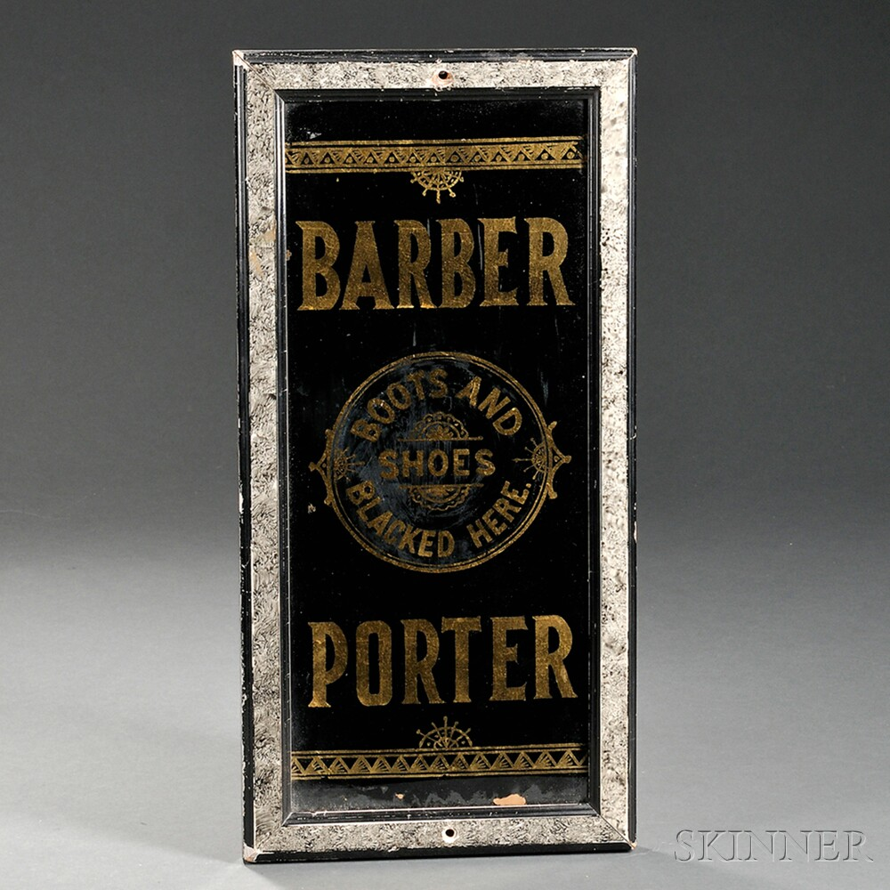 "Reverse-painted and Gilt Glass ""BARBER/PORTER"" Trade Sign"