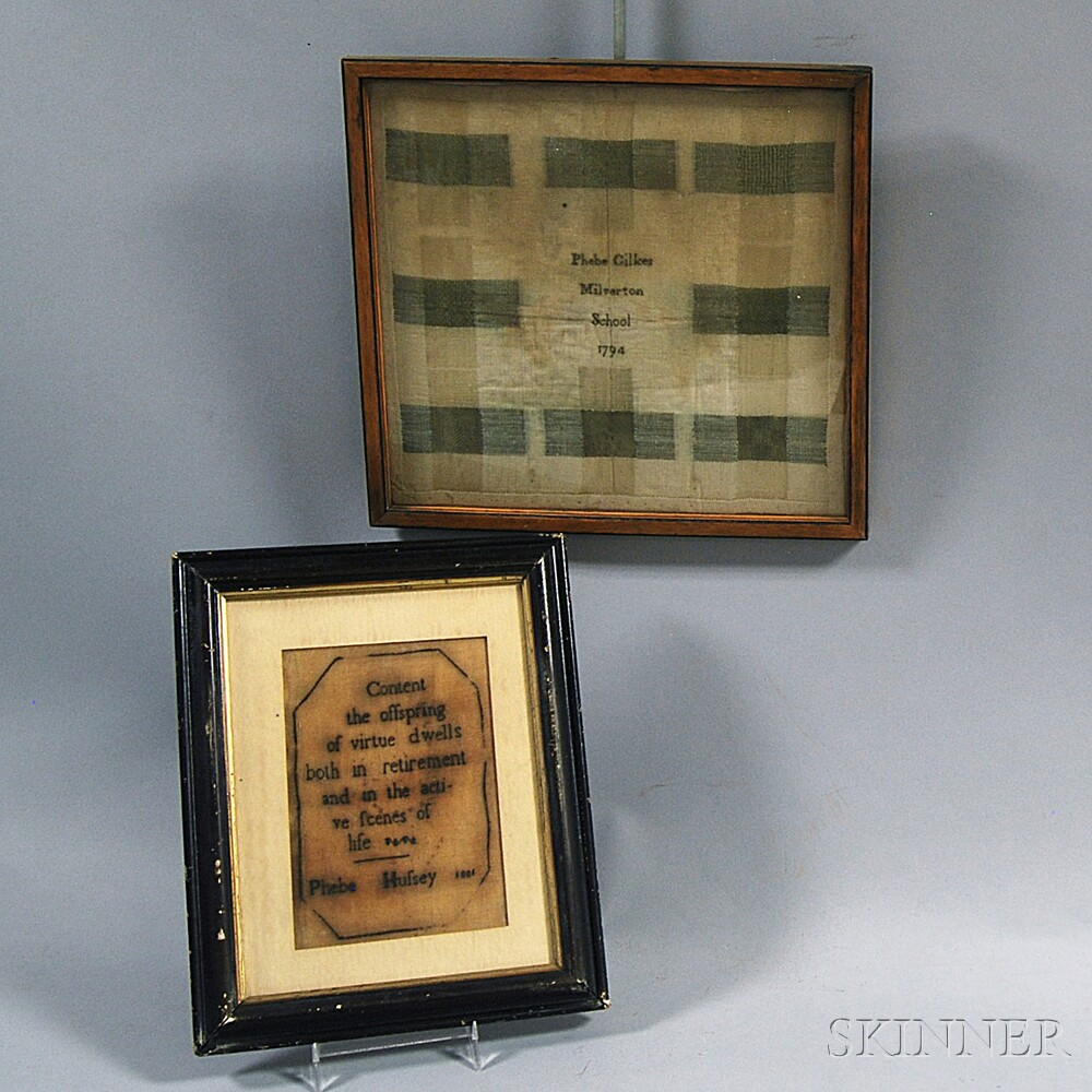 Two Small Silk Samplers