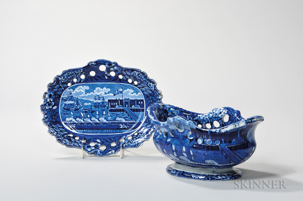 Staffordshire Historical Blue Transfer-decorated Landing of Lafayette Fruit Bowl and Undertray