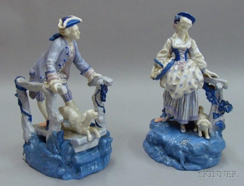 Pair of Blue Enameled Porcelain Figures