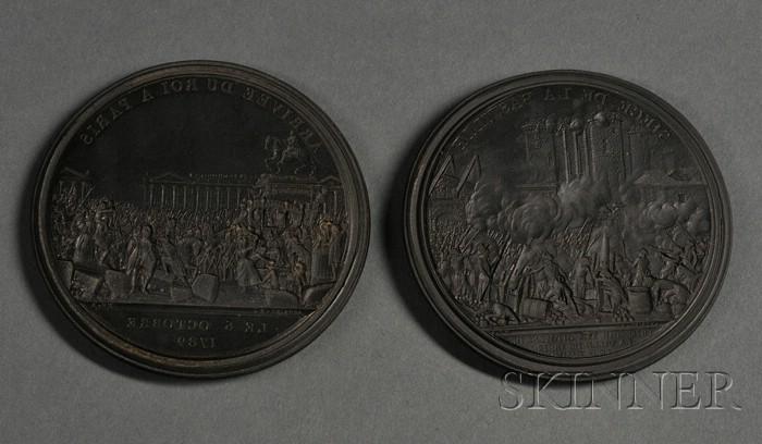 Pair of Wedgwood Black Basalt Intaglio Medallions