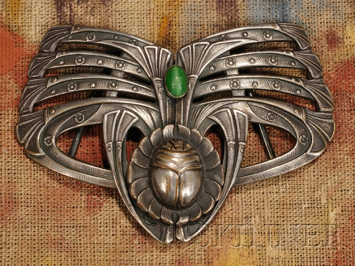Art Nouveau Scarab and Papyrus Belt Buckle