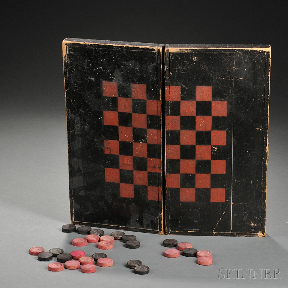 Small Black- and Red-painted Poplar Folding Game Board with Checkers