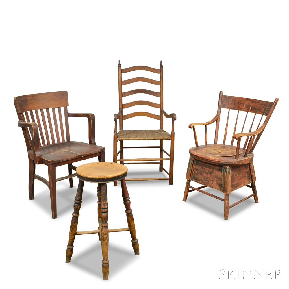 Three Chairs and a Stool.     Estimate $100-200