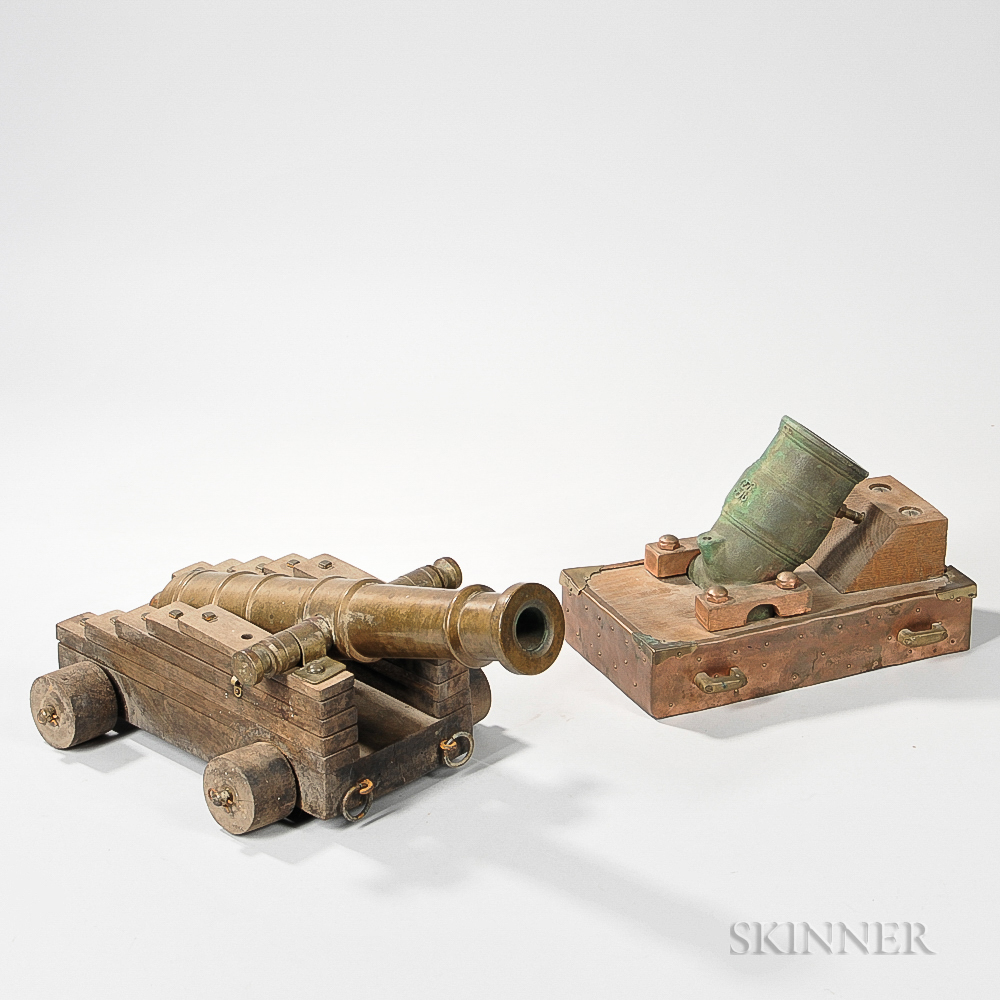 Two Reproduction Bronze Cannons