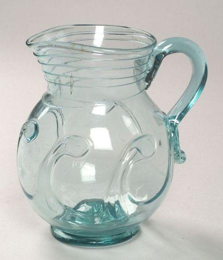 Free-Blown Light Aquamarine Glass Pitcher with Lily Pad Decoration