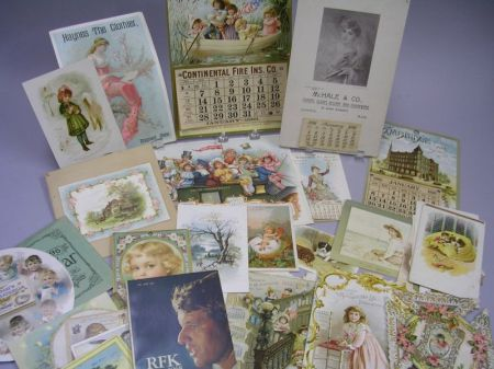 Group of Late 19th Century Chromolithograph Trade Cards, Calendars, Greeting Cards,   Etc.