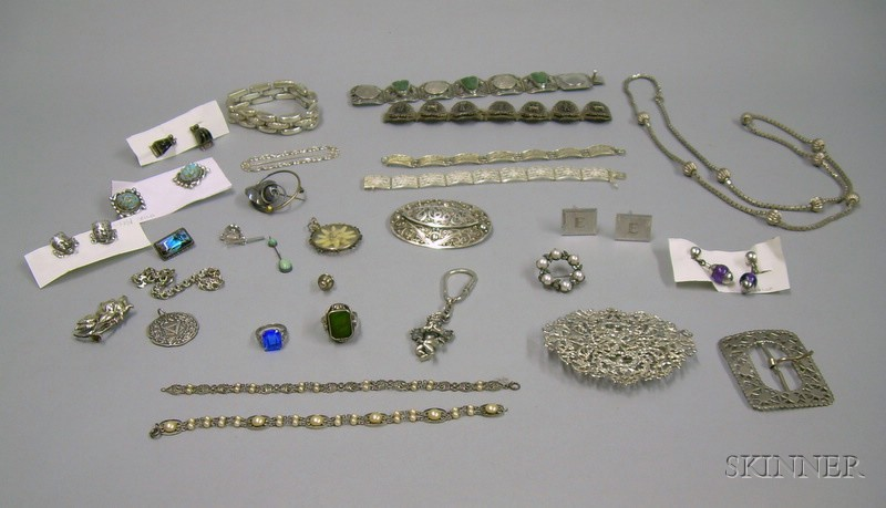 Assorted Mexican and Other Silver Jewelry and Accessories.