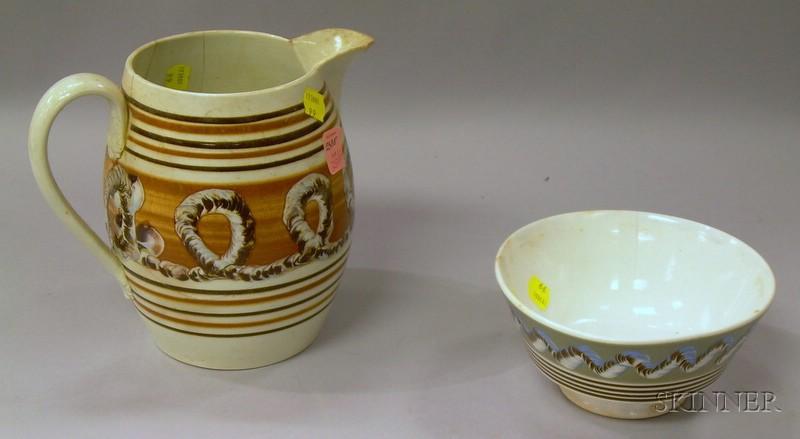 Mochaware Jug and Footed Bowl