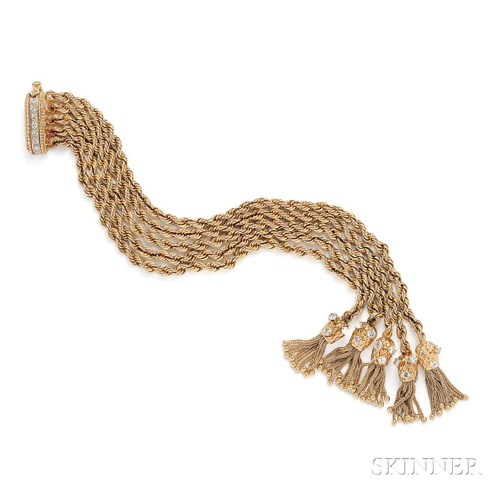 14kt Gold and Diamond Rope Bracelet