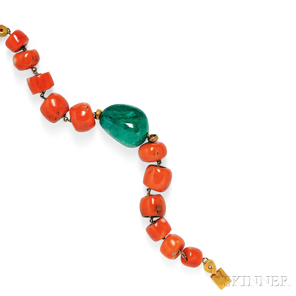 18kt Gold, Emerald, and Coral Bracelet, Paola Ferro
