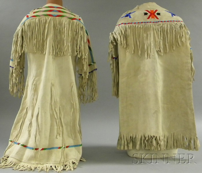 Two Native American Beaded Hide Girl's Dresses
