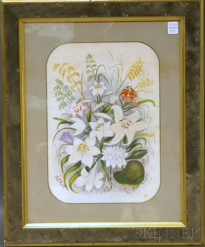 19th Century American School Crayon on Paper Floral Still Life with Lilies