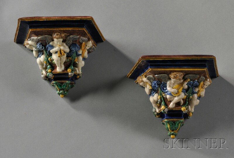 Pair of Majolica Wall Brackets