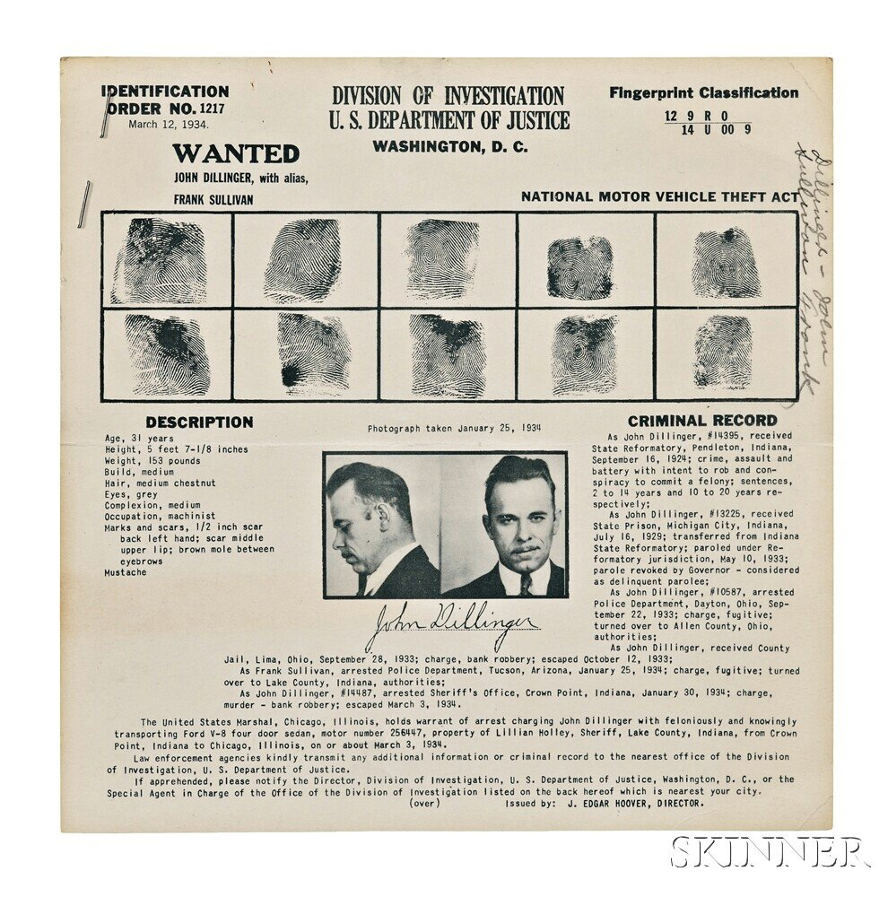 Dillinger, John (1903-1934) Wanted Poster, and Related Documents, Mid-March 1934.