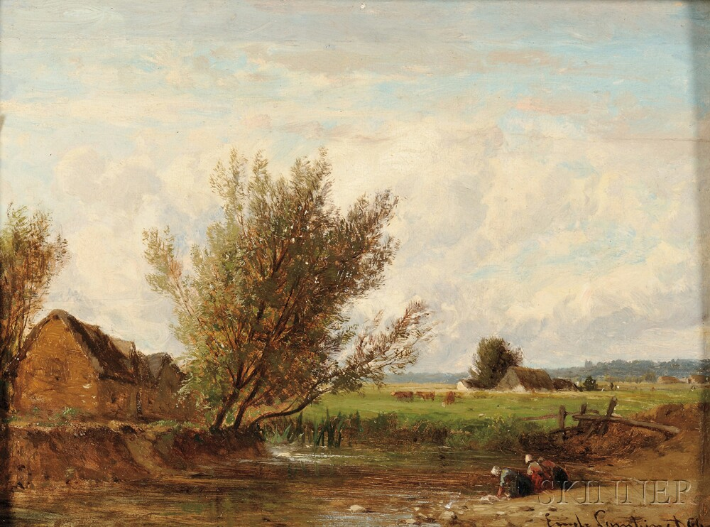 Emile Charles Lambinet (French, 1815-1877)      Washerwomen at a Country Stream