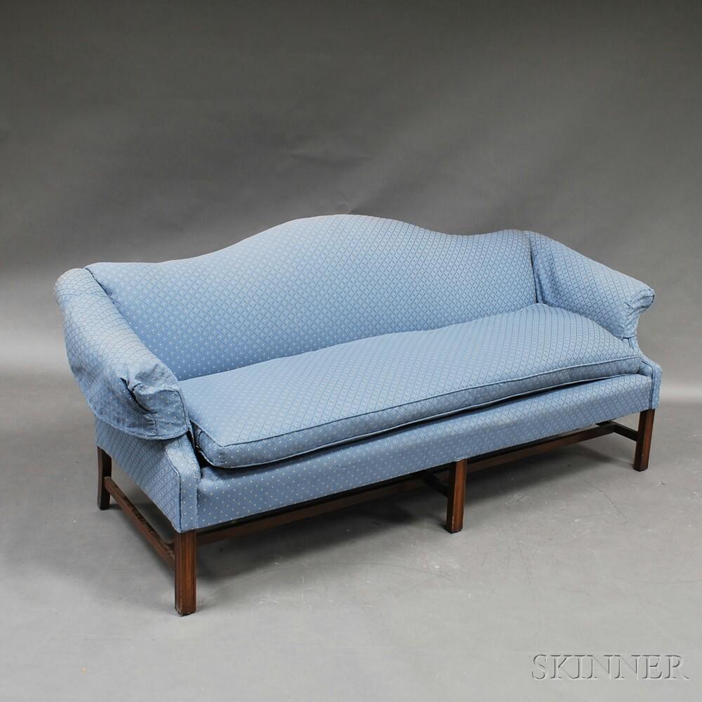 Chippendale-style Mahogany Camelback Sofa