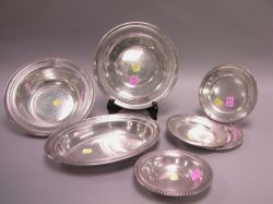Seven Sterling Silver Bowls, Trays and Dishes.