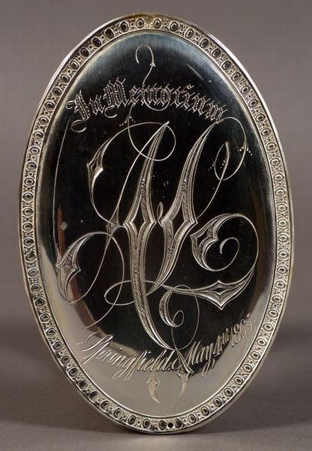 Rare and Important Engraved Silver Plate Plaque from the Hearse of Abraham Lincoln