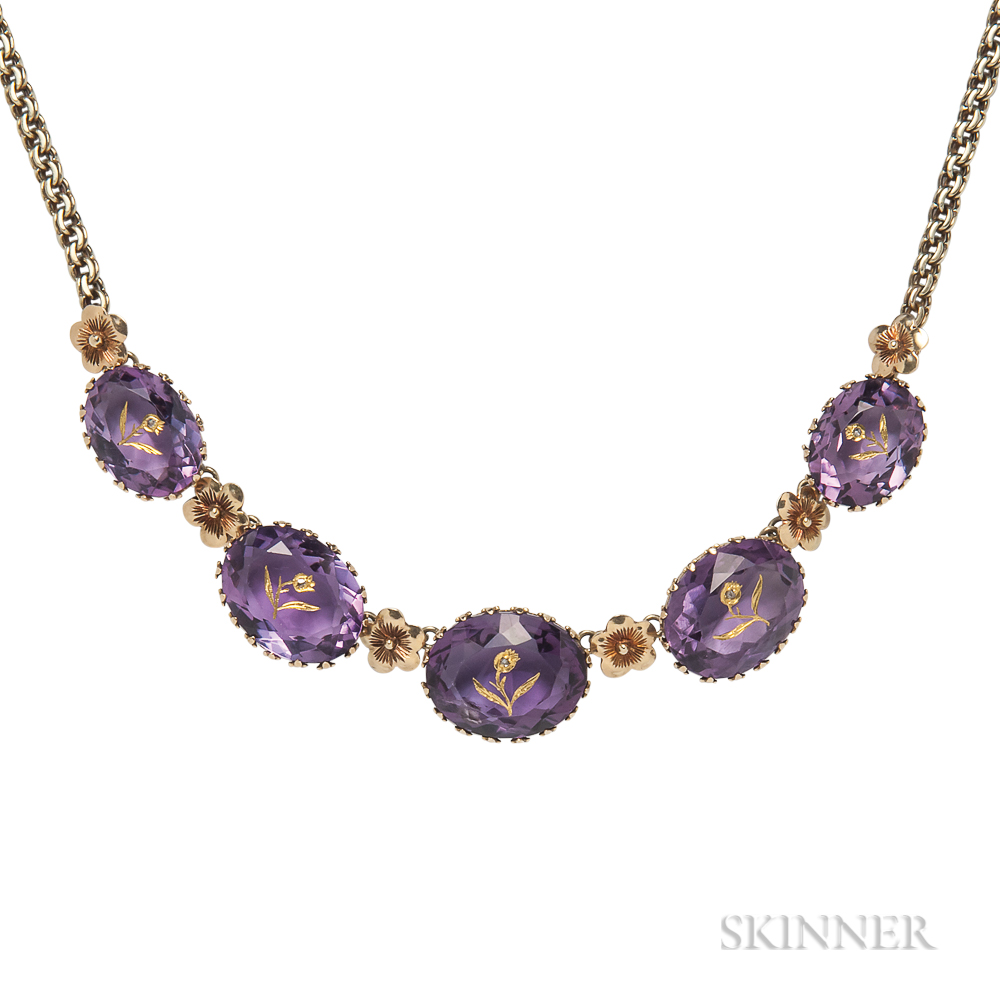 Gold and Amethyst Necklace
