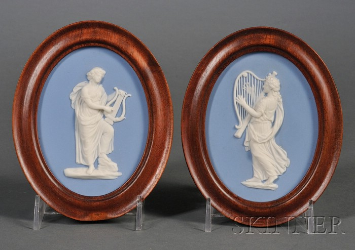 Pair Wedgwood Solid Light Blue Jasper Medallions