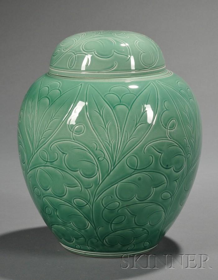 Wedgwood Celadon Green Glazed Ginger Jar and Cover