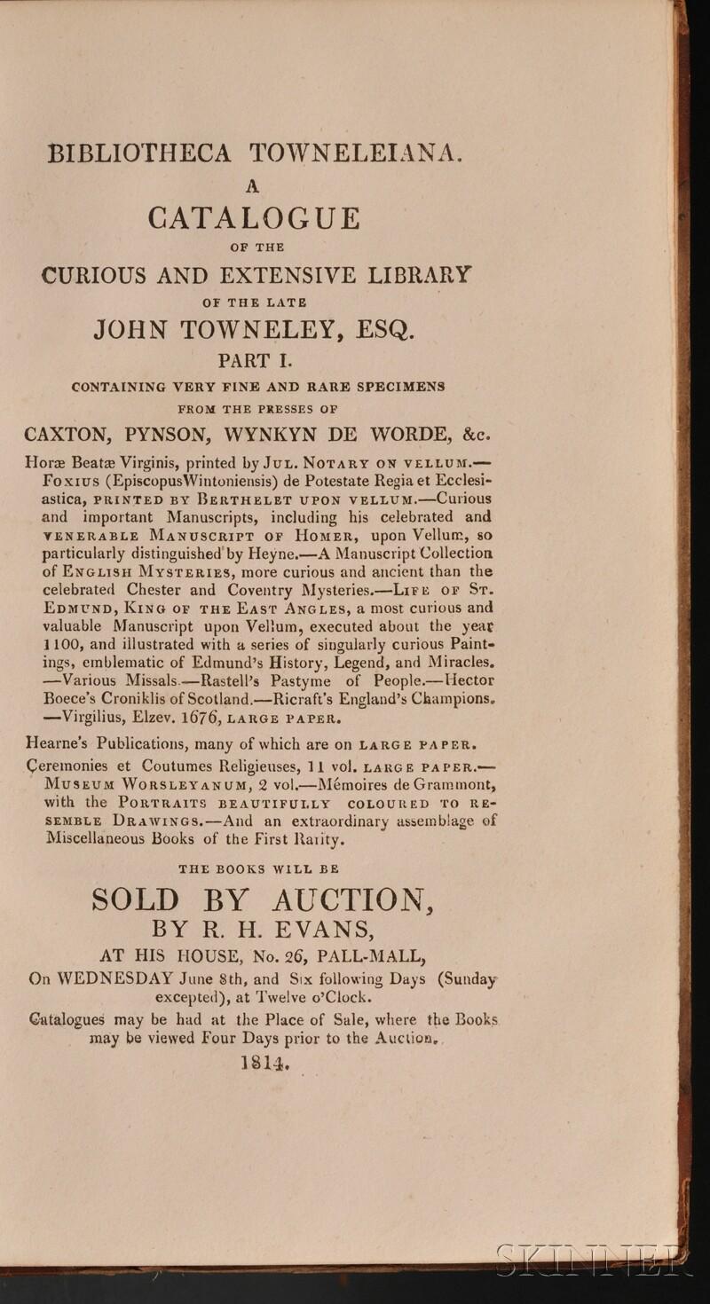 (Library Sale Catalog), Towneley, John