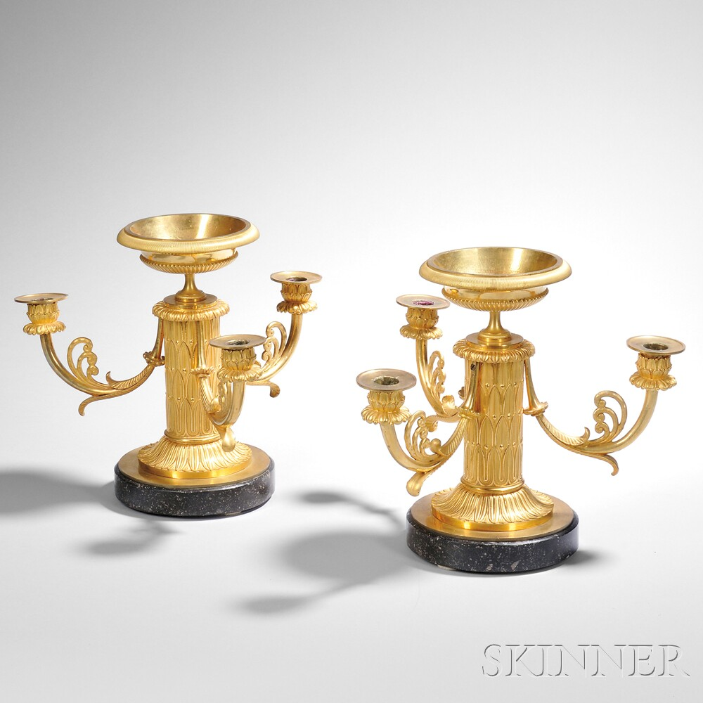 Pair of Empire Ormolu Three-light Candelabra with Tazza