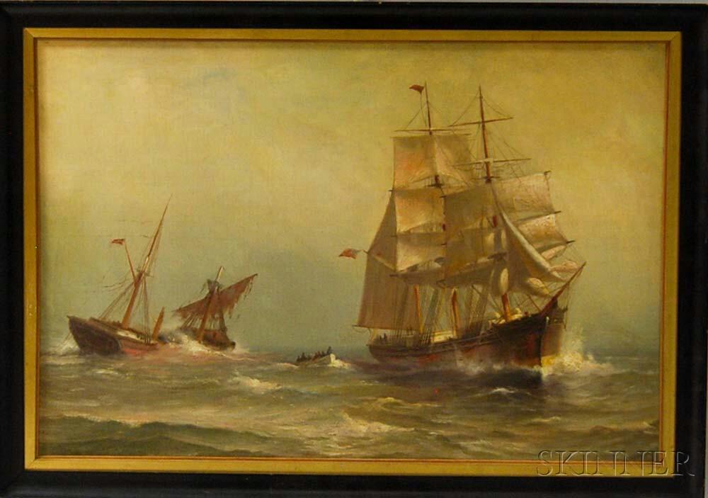 American School, 20th Century       Maritime Scene with an American Warship.