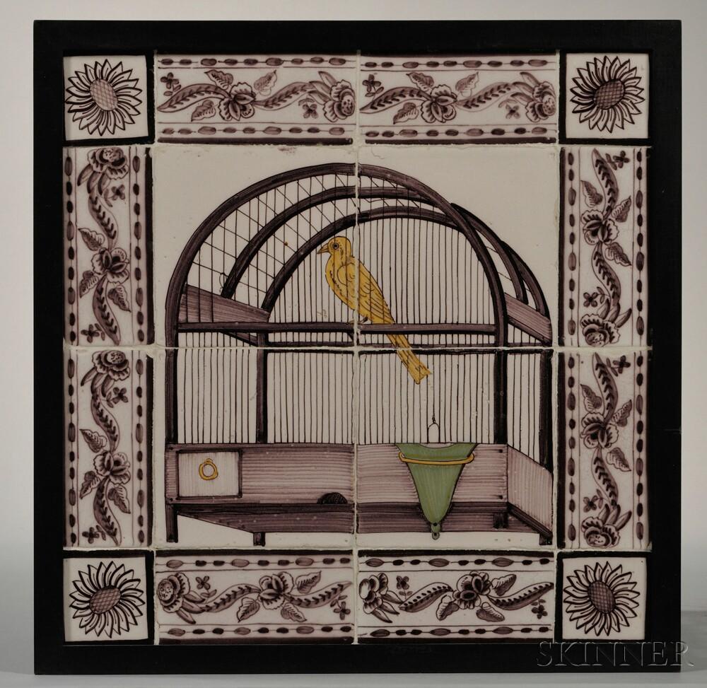 Framed Manganese Dutch Delft Tile Plaque