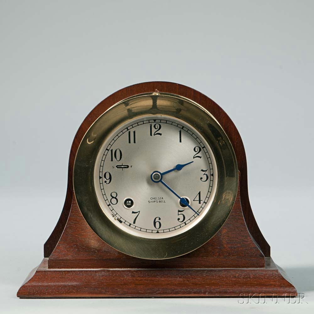 Chelsea Ship's Bell Brass Clock on Stand