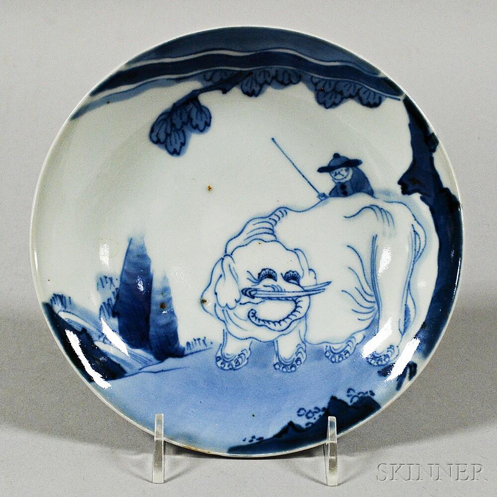 Blue and White Elephant Dish