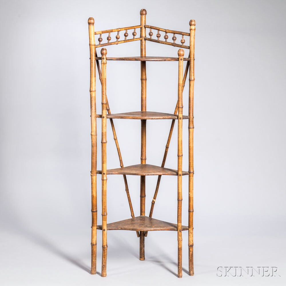Victorian Bamboo Four-tier Etagere