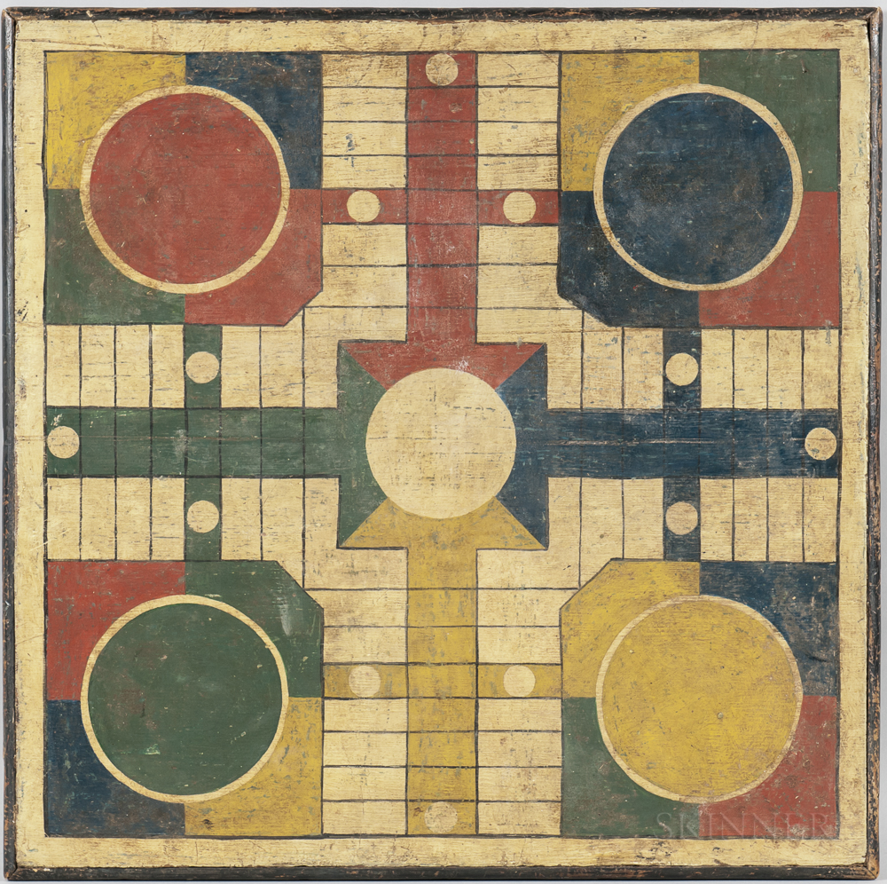 Paint-decorated Parcheesi Game Board