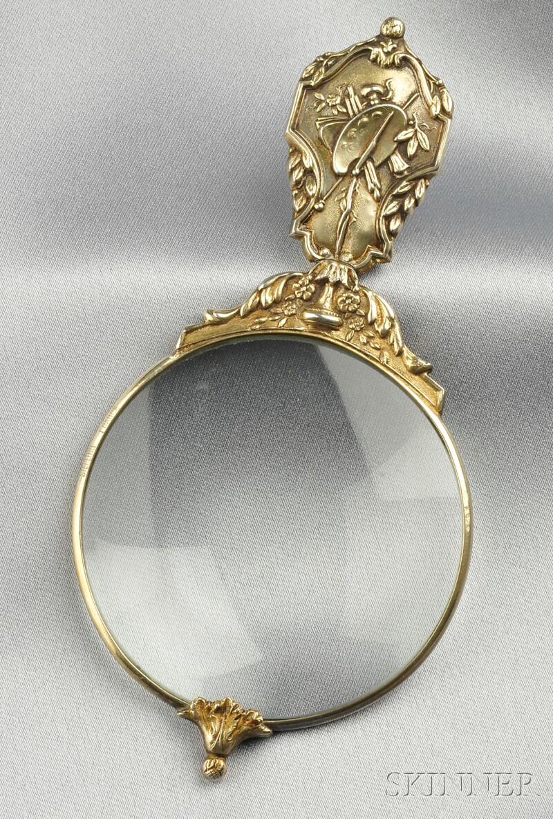 Art Nouveau Sterling Silver-gilt Magnifying Glass