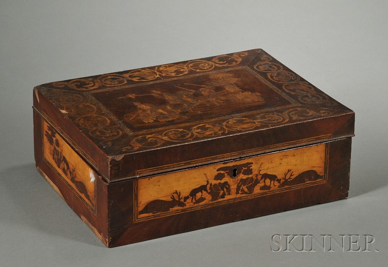 South German Marquetry Inlaid and Mahogany Veneered Necessaire Box